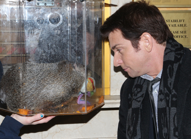 Andy Karl has some face time with Staten Island Chuck.