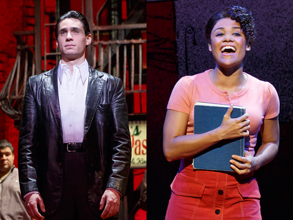 Bobby Conte Thornton and Ariana DeBose as high school sweethearts Calogero and Jane in A Bronx Tale.