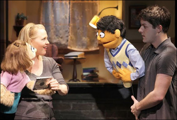 Anika Larsen as Kate Monster and Seth Rettberg as Princeton in the 2009 off-Broadway cast of Avenue Q at New World Stages.