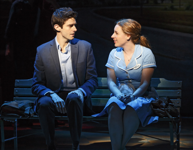 Drew Gehling as Dr. Pomatter with Jessie Mueller as expert pie maker Jenna Hunterson in the Broadway musical Waitress.