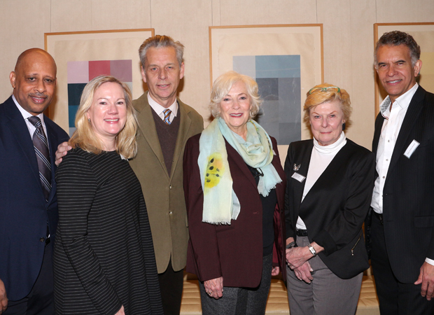 Ruben Santiago-Hudson, Kathleen Marshall, Michael Ritchie, Betty Buckley, Nelle Nugent, and Brian Stokes Mitchell attend the Theatre Forward Broadway Roundtable at UBS.