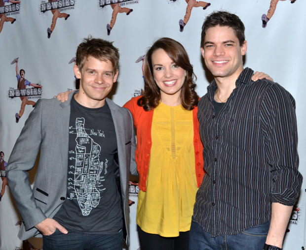 Andrew Keenan-Bolger, Kara Lindsay, and Jeremy Jordan at the press day for Broadway's Newsies in 2012.