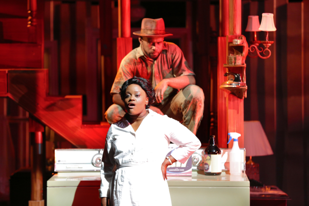 Nova Y. Payton as Caroline Thibodeaux with V. Savoy McIlwain as The Dryer in Caroline, or Change, directed by Matthew Gardiner, at Round House Theatre.