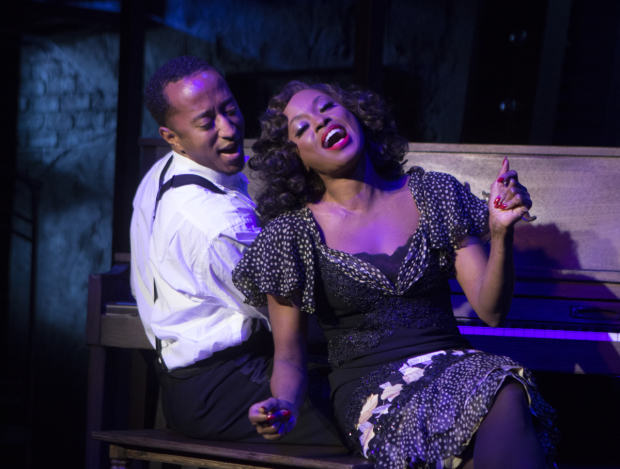 Mark G. Meadows (Jelly Roll Morton) and Felicia Boswell (Anita) in Jelly's Last Jam, directed by Matthew Gardiner, at Signature Theatre.