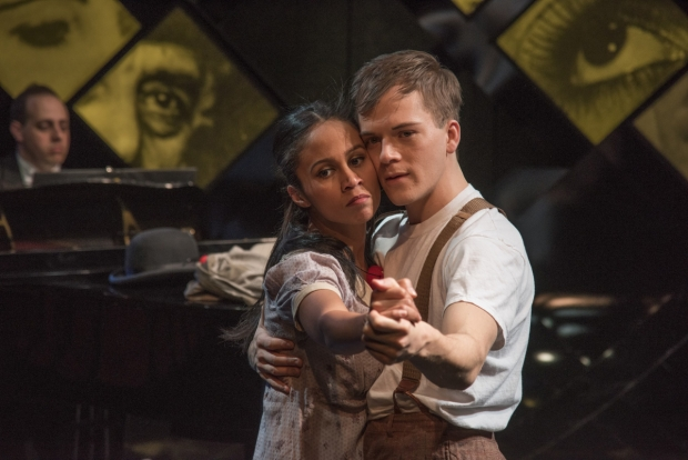 Carla Martinez and Jake Murphy in Brecht on Brecht, directed by Jim Petrosa, at New Rep Theatre.