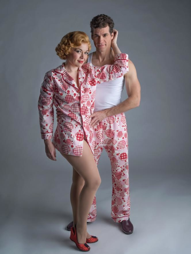 Billie Wildrick and Josh Davis star in Jerry Ross and Richard Adler's musical The Pajama Game, directed by Bill Berry, at 5th Avenue Theatre.