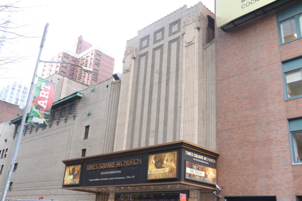 The Mark Hellinger Theatre is now the home of the Times Square Church.