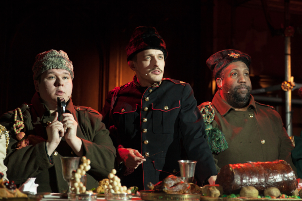 Yusapoof (Brian Bock, center) and his fellow aristocrats (Ben Langhorst and Rolls Andre) look askance on the newcomer to the palace in Beardo.