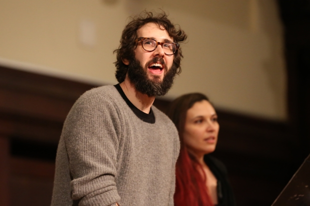 Josh Groban and Katrina Yaukey lead fans in a cast recording session for The Great Comet.