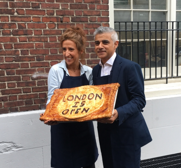 Producer Rachel Edwards and Mayor of London Sadiq Khan celebrate the off-Broadway transfer of Tooting Arts Club's Sweeney Todd.