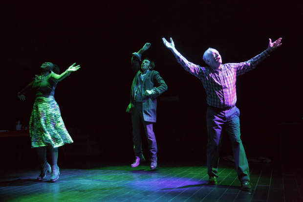 Tamyra (Nana Mensah), Harry (Max Gordon Moore), and Ken (Reed Birney) dance in Man From Nebraska.