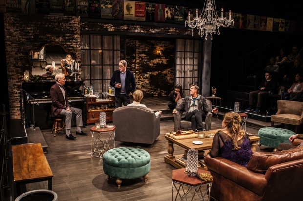 John Epperson, Matthew Broderick, Jill Eikenberry, Annapurna Sriram, Larry Pine, and Claudia Shear star in Wallace Shawn's Evening at the Talk House, directed by Scott Elliott, for the New Group at the Pershing Square Signature Center.