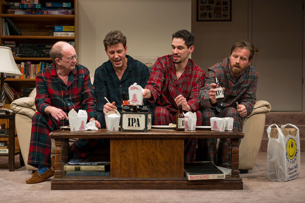 Alan Wilder, Madison Dirks, Ryan Hallahan, and Brian Slaten in Straight White Men, written and directed by Young Jean Lee, at Steppenwolf Theatre.