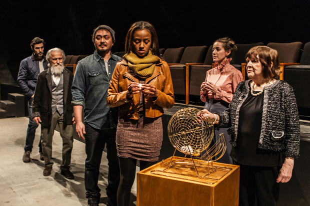 Louis Cancelmi, David Patrick Kelly, Michael Braun, Lakisha Michelle May, Brooke Bloom, and Marylouise Burke star in Branden Jacobs-Jenkins' Everybody, directed by Lila Neugebauer, at Signature Theatre.