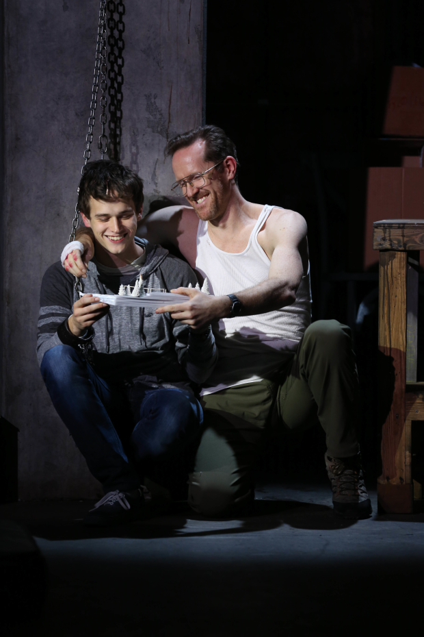 Brandon Flynn plays Luke, and Jeffry Denman plays Michael in Kid Victory at the Vineyard Theatre.