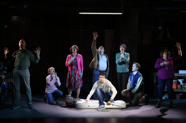 Brandon Flynn (center) leads the cast of John Kander and Greg Pierce's Kid Victory, directed by Liesl Tommy, at the Vineyard Theatre.