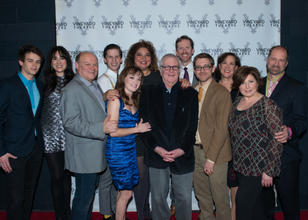 The company of Kid Victory on opening night at Vineyard Theatre.