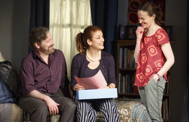 Jeremy Shamos (Michael), Kate Walsh (Holly), and Maria Dizzia (Sharon) in Steven Levenson's If I Forget, directed by Daniel Sullivan, at Roundabout's Laura Pels Theatre.