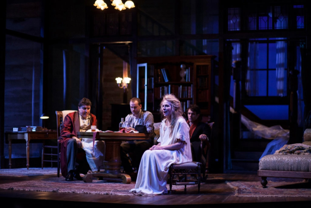 Alfred Molina, Stephen Louis Grush, Colin Woodell, and Jane Kaczmarek in the Geffen Playhouse production of Long Day's Journey Into Night.