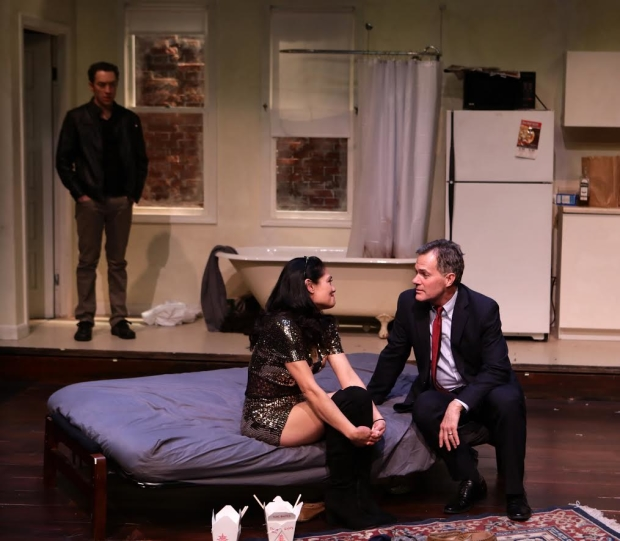 Alexander Platt, Celeste Oliva, and Craig Mathers star in Sarah Ruhl's Stage Kiss, directed by Courtney O'Connor, at the Lyric Stage Company of Boston.
