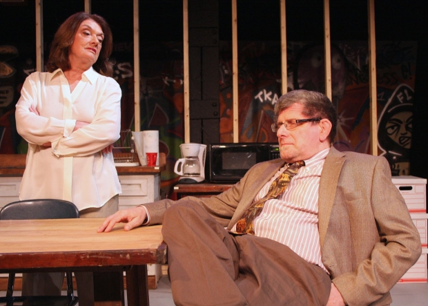 Maureen Adduci as Pam and Robert Bonotto as Arnold in Exit Strategy, directed by David J. Miller, at Zeitgeist Stage Company.