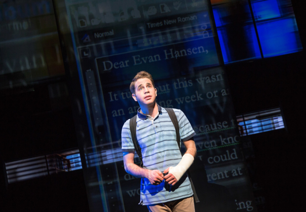 Ben Platt in Benj Pasek, Justin Paul, and Steven Levenson's musical Dear Evan Hansen.