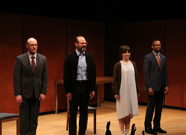 Jordan Lage, Chris Bauer, Rebecca Pidgeon, and Lawrence GIlliard Jr. take their opening-night bow in The Penitent.
