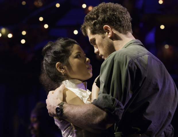 Eva Noblezada and Alistair Brammer as Kim and Chris in the West End revival of Miss Saigon.