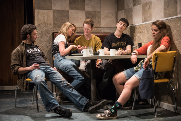 James Kautz, Elizabeth Lail, Spencer Davis Milford, Sean Patrick Monahan, and Rachel Franco star in Ken Urban's Nibbler, directed by Benjamin Kamine, for the Amoralists at Rattlestick Playwrights Theater.