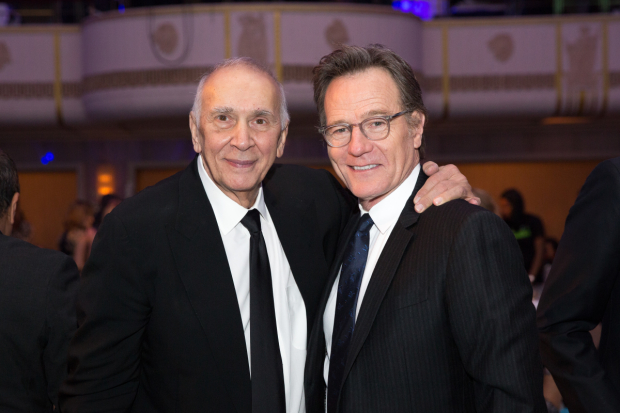 Bryan Cranston (right) awarded Frank Langella (left) the Jason Robards Award for Excellence in Theatreat at Roudabout Theatre's Spring Gala.