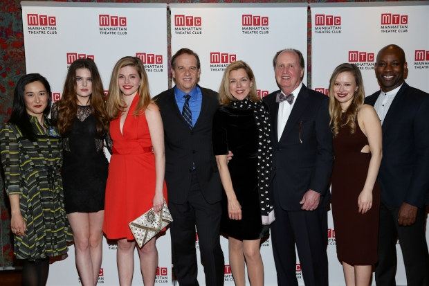 The cast of Linda celebrates opening night at new York City Center.