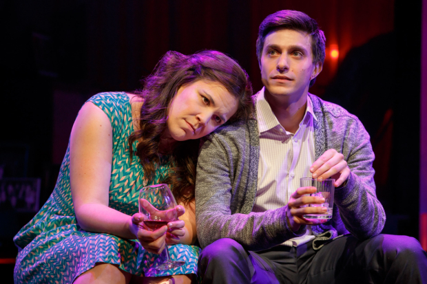 Lindsay Mendez as Laura and Gideon Glick as Jordan in the Broadway production of Joshua Harmon's Significant Other, directed by Trip Cullman.