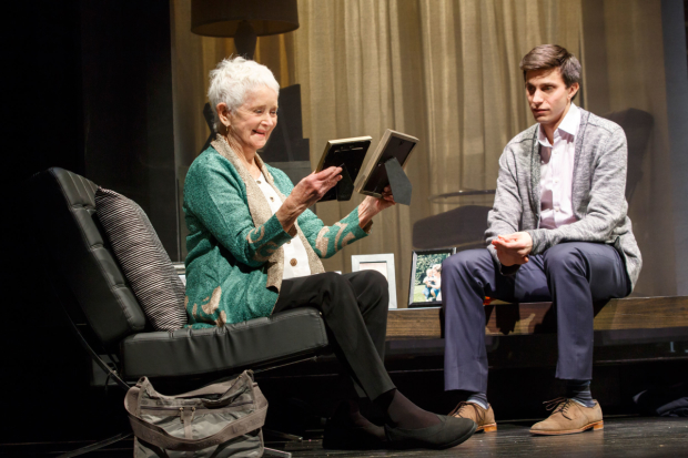 Barbara Barrie as Helene and Gideon Glick as Jordan in Significant Other at the Booth Theatre.