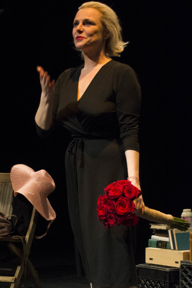Angelica Page takes a bow during curtain call of Turning Page.