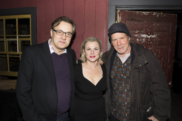 Dmitry Lipkin, Will Patton, and Angelica Page celebrate opening night.