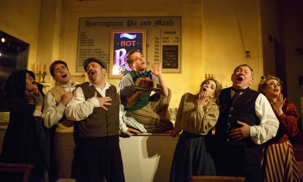 Betsy Morgan, Matt Doyle, Brad Oscar, Joseph Taylor, Alex Finke, Duncan Smith, and Siobhán McCarthy star in Bill Buckhurst's environmental staging of Sweeney Todd at the Barrow Street Theatre.
