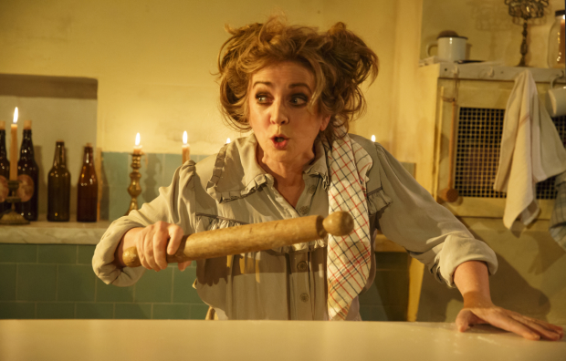 Siobhán McCarthy plays Mrs. Lovett in Sweeney Todd at the Barrow Street Theatre.