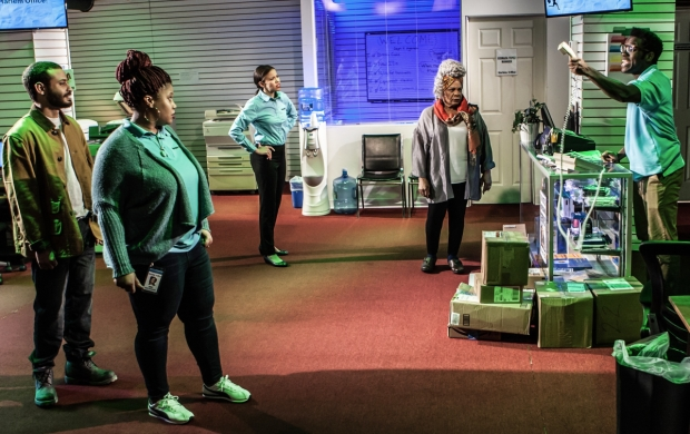 Cesar J. Rosado, Pernell Walker, Flor De Liz Perez, Tina Fabrique, and Chinaza Uche appear in Dolphins and Sharks, a production from Labyrinth Theater Company at the Bank Street Theater.