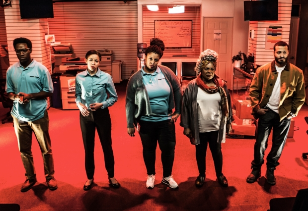 Chinaza Uche, Flor De Liz Perez, Pernell Walker, Tina Fabrique, and Cesar J. Rosado star in James Anthony Tyler's Dolphins and Sharks, directed by Charlotte Brathwaite, for Labyrinth Theater Company at the Bank Street Theater.