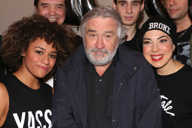 Ariana DeBose, Robert De Niro, and Lucia Gianetta celebrate the 100th performance of A Bronx Tale.