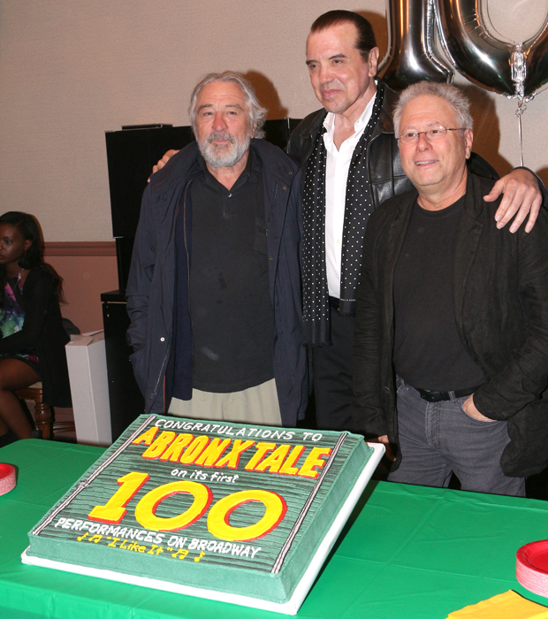 Robert De Niro, Chazz Palminteri, and Alan Menken are proud to celebrate their show's 100th performance.
