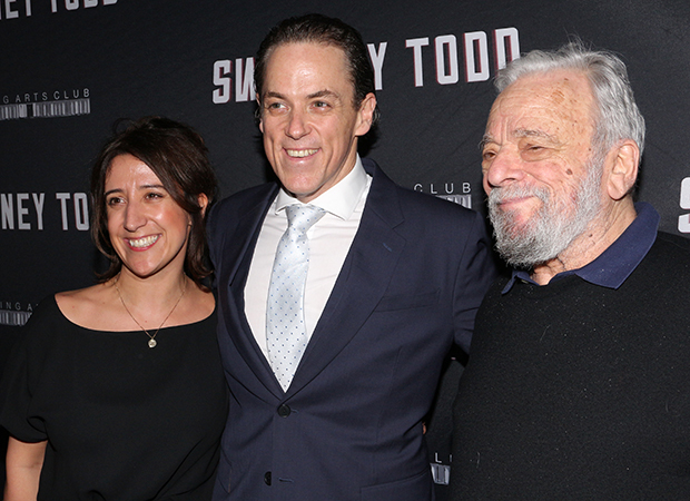 Producer Rachel Edwards, star Jeremy Secomb, and composer/lyricist Stephen Sondheim celebrate the opening night of Sweeney Todd.