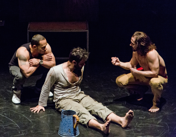 Javier Molina, Gabriel Furman, and Michael Billingsley in The Last Days of Judas Iscariot, directed by Estelle Parsons.
