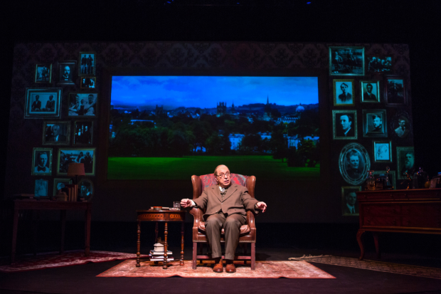 Max McLean in Fellowship for Performing Arts'  C.S. Lewis Onstage: The Most Reluctant Convert, codirected by McLean and Ken Denison, at the Acorn Theatre at Theatre Row.