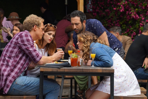 Chris Geere, Aya Cash, Desmin Borges, and Kether Donahue in a scene from the FXX series You're the Worst.