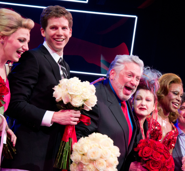 Annaleigh Ashford, Star Sands, Harvey Fierstein, Cyndi Lauper, and Billy Porter during the opening-night curtain of Kinky Boots.