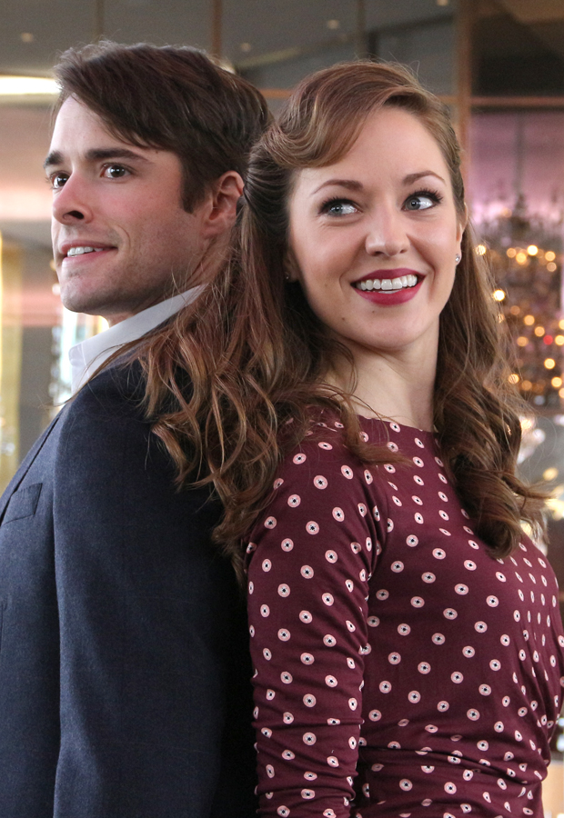 Corey Cott and Laura Osnes rehearse the new Broadway musical Bandstand.