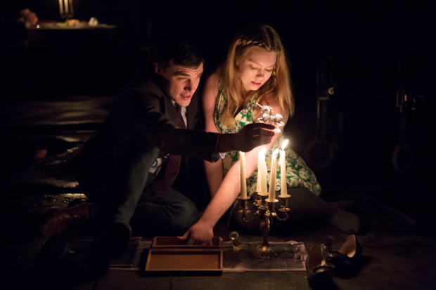 Finn Wittrock plays Jim, and Madison Ferris plays Laura in Tennessee Williams' The Glass Menagerie, directed by Sam Gold, at the Belasco Theatre.