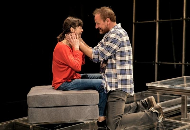 Charin Alvarez and Mark L. Montgomery in Theresa Rebeck's The Scene, directed by Kimberly Senior, at Writers' Theatre.