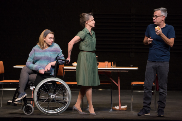 Madison Ferris as Laura, Sally Field as Amanda, and Joe Mantello as Tom in Sam Gold's production of Tennessee Williams' The Glass Menagerie at the Belasco Theatre.